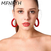MFNFYH Sexy Red Black Acrylic Beads Big Hoop Earrings For Women Circle Round Statement Earring Party Wedding Jewelry Brinco 2019