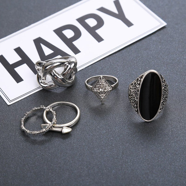 MFNFYH Vintage Punk Boho Ring Set Antique Silver Plated Geometric Statement Rings For Women Men Jewellery Bague Femme 2018