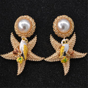 MHS.SUN 1Pair/Lot Exaggerated Gold Starfish Baroque Earring Jewelry Newest Fashion Pearl Women Baroque Earring Jewelry