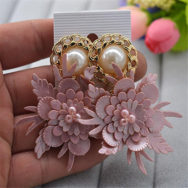 MHS.SUN 1Pair/Lot Exaggerated Leather Flower Baroque Earring Jewelry European Fashion Women Baroque Earring Jewelry