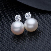 MITUO Classic Pearl Earring, Pearl With 925 Sterling Silver Earrings,Birthday Gift Jewelry Fashion Earrings For Women
