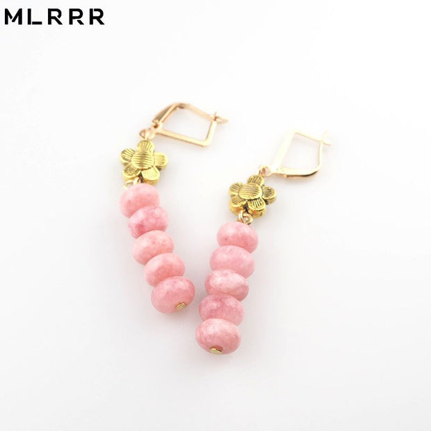 MLRRR Vintage Classic Natural Stone Jewelry Handmade Pink Crystal Beaded Pendant Drop Earrings