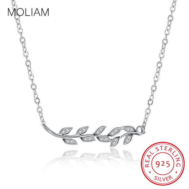 MOLIAM Authentic 925 Sterling Silver Necklace 2017 Leaves Design Wedding Fashion Jewelry Pendants Necklaces For Women MLDYF055