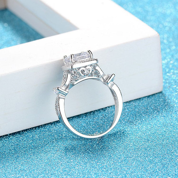 MOONROCY Silver Color Crystal Wedding Rings Cubic Zirconia Jewelry Promise Ring Wholesale Gift For Women Girls Dropshipping