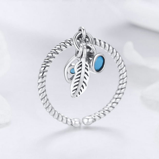 MYBEBOA Genuine 925 Sterling Silver Bohemian Feathers Vintage Styles Open Size Rings For Women Sterling Silver Jewelry