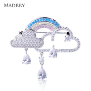 Madrry Rainbow Cloud Shape Brooch Full Inlay Zircon Tassel Brooches Copper Jewelry Women Men Suit Coat Corsage Pins Accessories