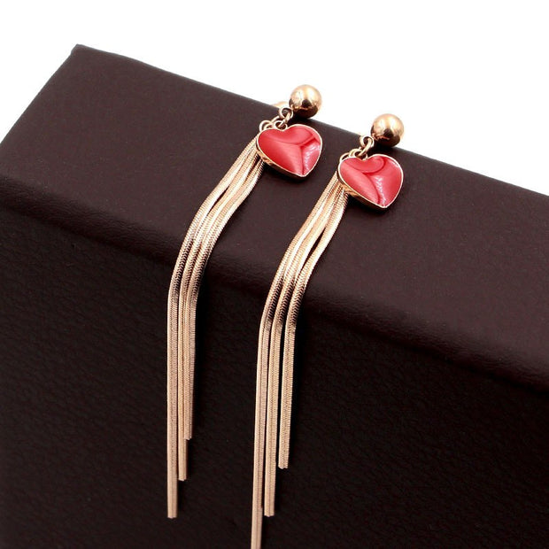Martick Europe Brand Sweet Style Stud Earrings With Red/Black Heart Three Snake Chain Tassel Stud Earrings For Woman E52