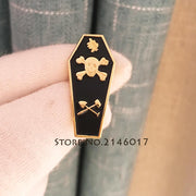 Masonic Coffin Pin And Brooch Master Mason Tracing Board Freemason Skull Akasha Leaf Acacia Sprig Lapel Pins Enamel Metal Badge