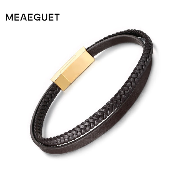 Meaeguet 5mm Microfiber PU Leather Bracelets With Stainless Steel Magnet Buckle For Men Women Trendy Double Braided Wristband