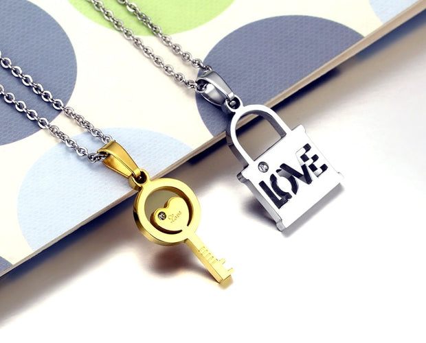 Meaeguet Couple Love Key Lock Pendant Necklace For Lover's Stainless Steel Jewelry Creative Valentine's Day Gift