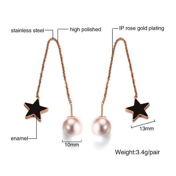Meaeguet Cute Black Color Star Stud Earrings For Women Simulated-pearl Long Ear Chain Line Accessories Jewelry