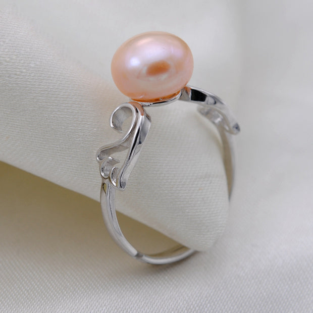 [MeiBaPJ]7-8mm Real Freshwater Pearls Ring For Women Classic White Jewelry Hot Selling 925 Sterling Silver Ring