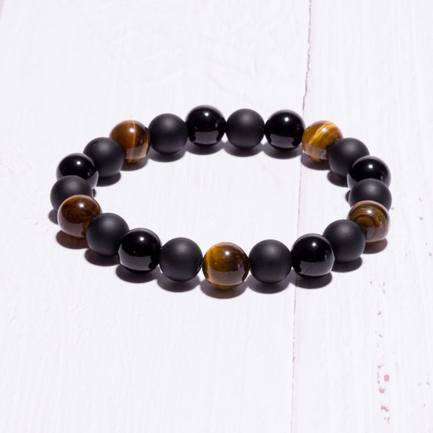 Men Bracelet Bangle Natural Tiger Eye Stone Luck Beads Bracelet 10MM Stone Bracelet European Buddha Jewelry