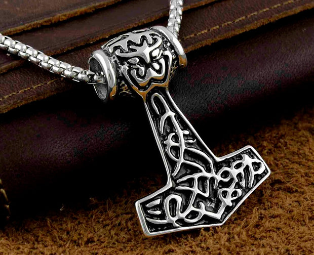 Men's 316L Stainless Steel Thor's Hammer Mjolnir Pendant Necklace Viking Norway Jewelry Mp13