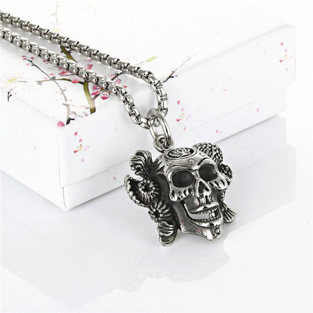Men's Stainless Steel Skeleton Pendant Necklace Titanium Punk Jewelry Personality Cloth Accessories