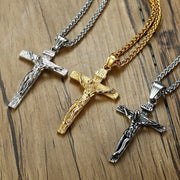"Mens Catholic Jesus Christ On INRI Cross Crucifix Stainless Steel Pendant Necklace Free 24"" Box Chain"