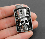 Mens Never Fade Silver Color Cap Skull Pendant Necklace Jewelry Gift SK1