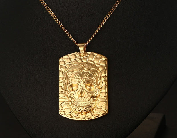 Mens Skull Corss Lion Charm Dog Tag Necklace In Yellow Stainless Steel Pendant Choker Biker Jewelry With 60cm Chain