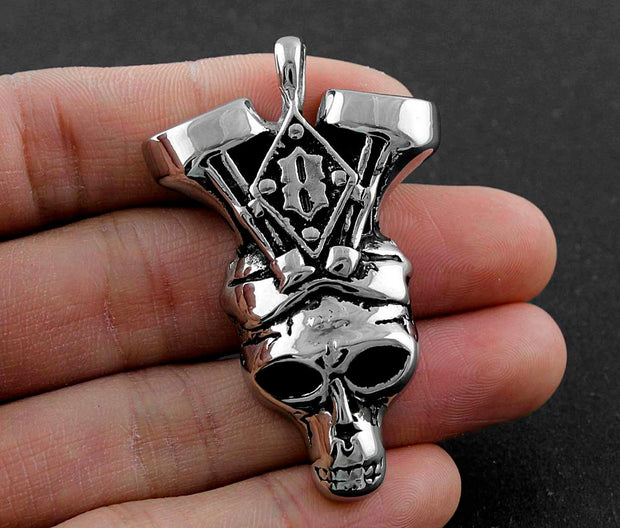 Mens Stainless Steel Biker Charm Pendant Necklace Jewelry #052
