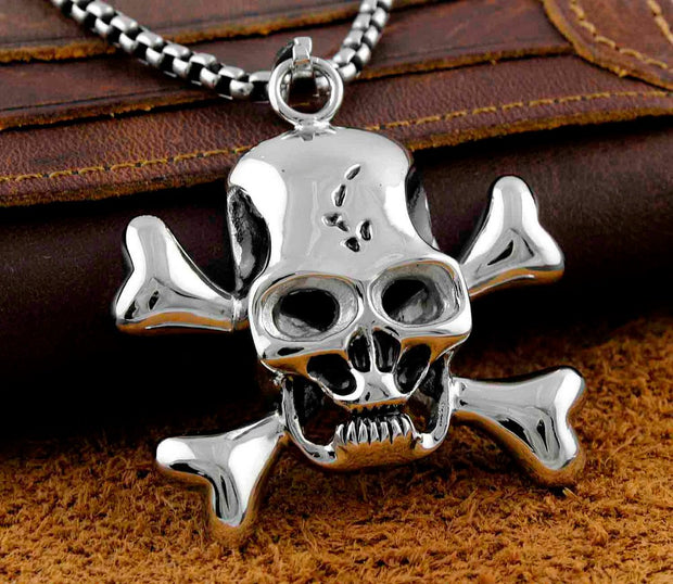 Mens Stainless Steel Biker Charm Pendant Necklace Jewelry #064