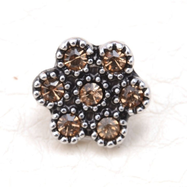 Miasol Imitation Rhodium Crystal Flower Slide Charm Beads For Strap Diy Women Wrap Charm Bracelet Jewelry Making
