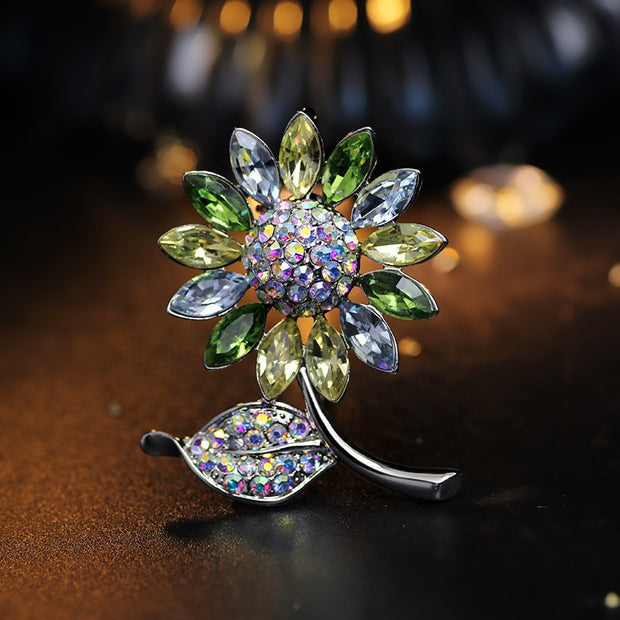 Miss Lady New Arrival 2017 Silver Color Rhinestone Crystal Sunflower Brooch For Women Best Gifts MLY6757