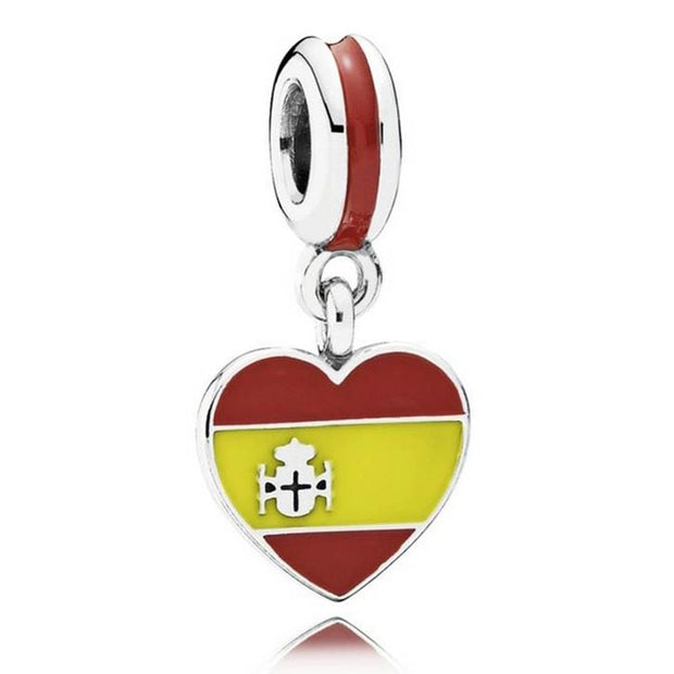 Mix Enamel Spain USA France Canada Russia Brazil Love Heart Flag Pendant Charm Fit Pandora Bracelet 925 Sterling Silver Beads