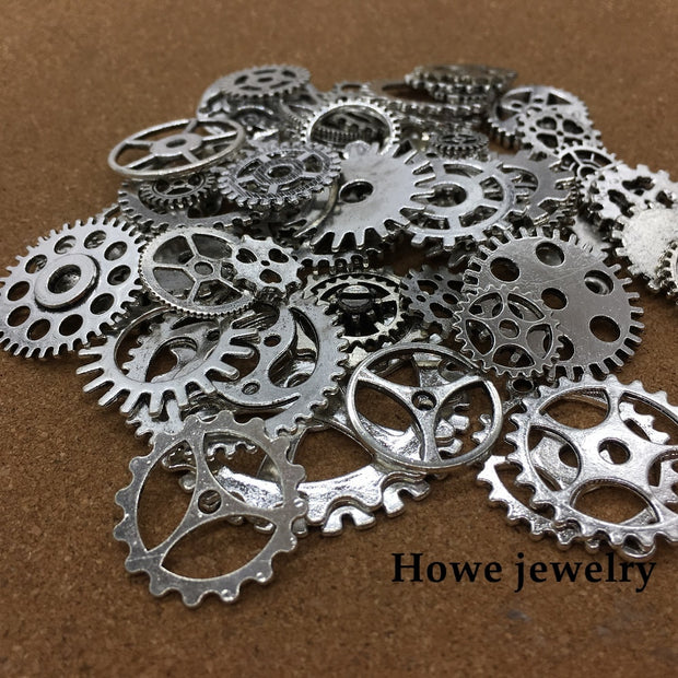 Mixed 100g Antique Silver Steampunk Gears And Cogs Clock Hands Jewelry Fingings