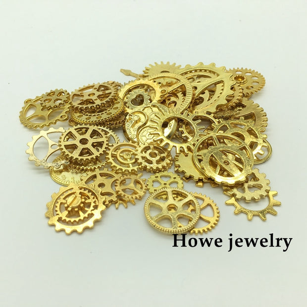 Mixed 100g Gold Color Steampunk Gears And Cogs Clock Hands Pendant European Style Jewelry