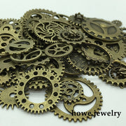 Mixed 100g Steampunk Gears And Cogs Clock Hands Charm Antique Bronze Fit Bracelets Necklace DIY Metal Jewelry Making