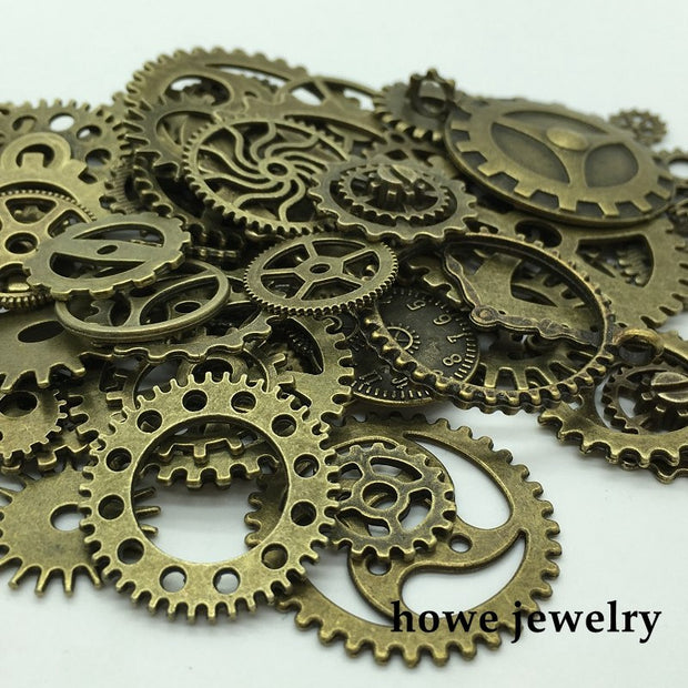 Mixed 100g Steampunk Gears And Cogs Clock Hands Jewelry Fingings