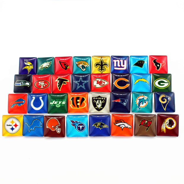 Mixs 32pcs/lot Sports Football Team Glass Square Snap Buttons Fit 18mm/20mm DIY Ginger Snap Bracelet Replaceable Button Jewelry
