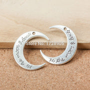Moon 10pcs 30x26x2mm Zinc Alloy Silver Plated Letters Carved Moon Letter Charms For DIY Jewelry Making