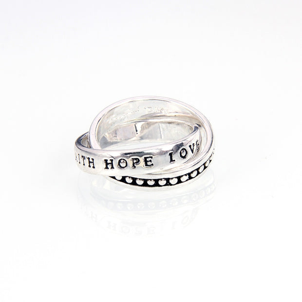 Muffiy Brand Faith Love Hope Silver Color Eternity Ring Classic Men And Women Jewelry Trendy Untuk Wanita Bijoux Wholesale