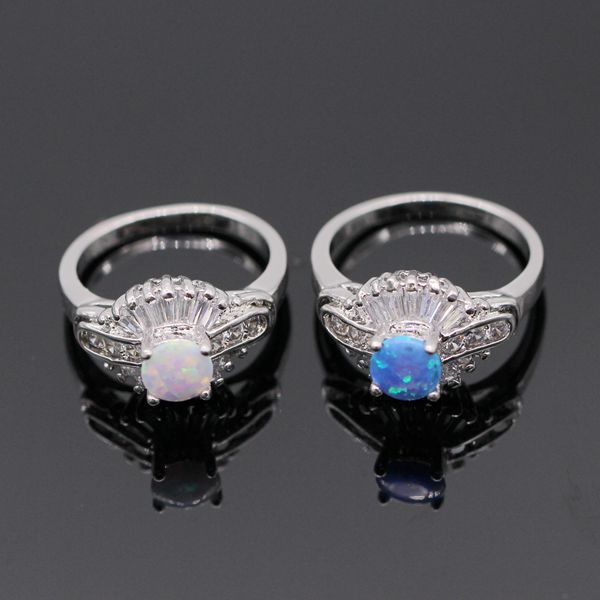 Mystic Fire Opal White Gold Color Crystal AAA CZ Wedding Ring For Women 2colors