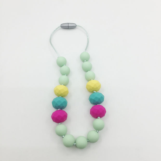 NEW Children Silicone Teething Necklace With Geo Stone Beads / Sensory Chew Necklace - Silicone
