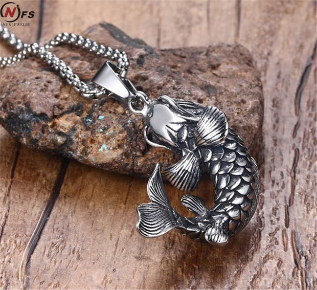 NFS 4.4CM Stainless Steel Cast Pendant Animal Modeling Carp Pendant Necklace Working Life Good Luck Fish Men Necklace