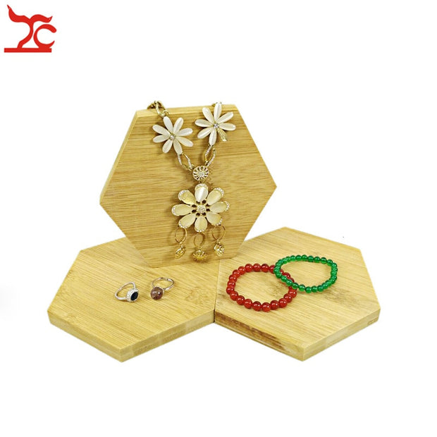 Natural Bamboo Jewelry Display Shelf Unfinished Hexagon Block Ring Necklace Bracelet Organizer Exhibition Art Decor Craft Stand