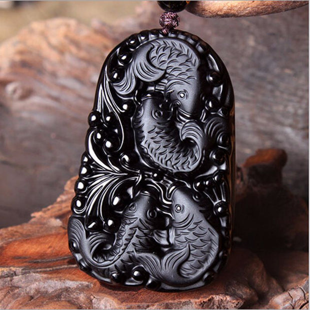 Natural Black Obsidian Carved Fish Happy Reunion Lucky Blessing Pendant Necklace Fashion Jewelry