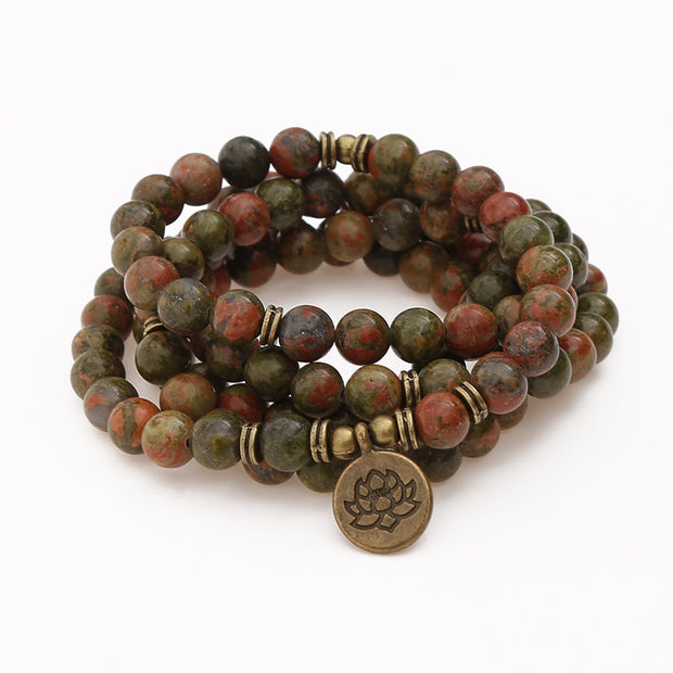 Natural Flowers Green Onyx Stone Beads Strand Bracelet & Necklace Lotus OM Pendant 108 Mala Chakra Yoga Buddhist Bracelet
