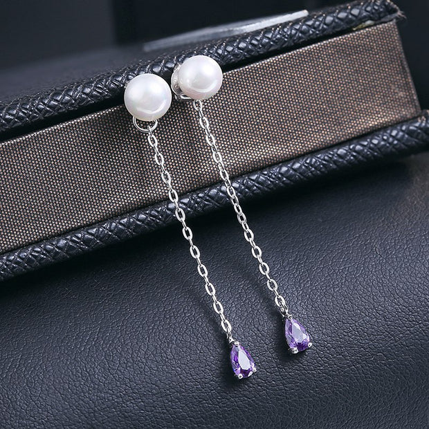 Natural Genuine Purple Zirconia Stone Solid 925 Sterling Silver Stud Earrings For Women Fashion Fine Jewelry Wholesale