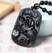 Natural Real Black Obsidian Carved Coin PiXiu Amulet Lucky Pendant Free Necklace Fashion Jewelry
