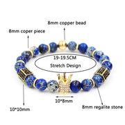 Natural Regalite Stone Beads Bracelet For Women Men Gold Color Stretch Bead Distance Micro Pave CZ Hexagon Crown Charm Bracelets
