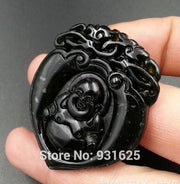 Natural Stone Black Green Yu Carved Chinese Heart Buddha Lucky Amulet Pendant + Rope Necklace Fine Jewelry Wholesales
