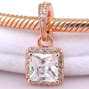 Ne Rose Gold Timeless Elegance With Crystal Necklace Pendant Fit Pandora Bracelet Diy Jewelry 925 Sterling Silver Bead Charm