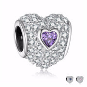 Neastamor High Quality Crystal Love Heart Charms Sliver Beads CZ Fit Original Pandora Bead Bracelet For Women Charm DIY Jewelry