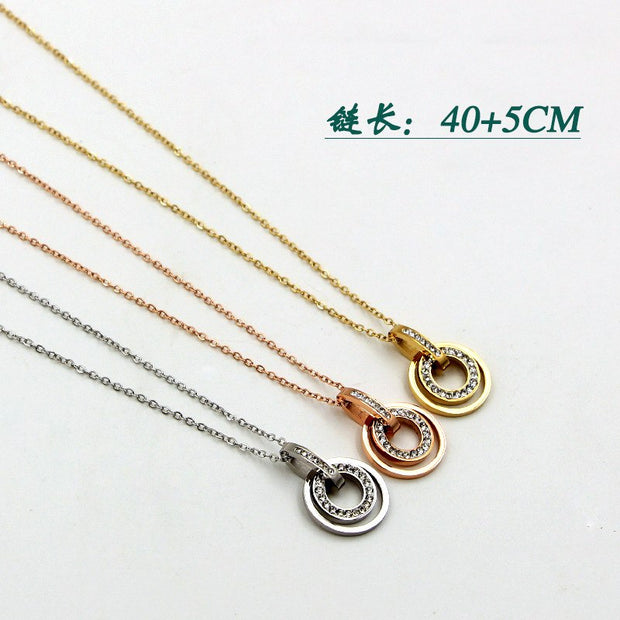 Necklace Gold Color Crystal Rose Pendant Necklace Statement Necklace For Women Girl Gold/Silver Link Chain Necklace Jewelry