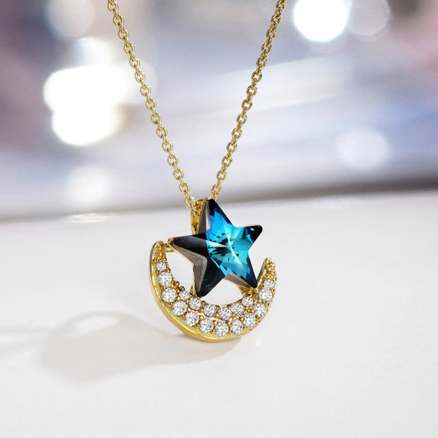 Neoglory Austria Crystal & Zircon Pendant Charm Necklace Brillant Moon With Star Design Dress Party Classic Trendy Gift