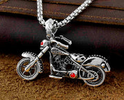 Never Fade Mens Stainless Steel Motorcycle Biker Skull Pendant Necklace Jewelry