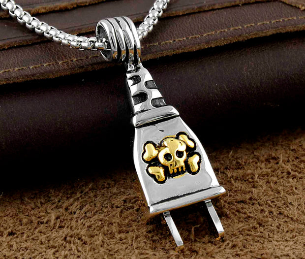 Never Fade Stainless Steel Mens Plug Charm Pendant Necklace Gothic Jewelry